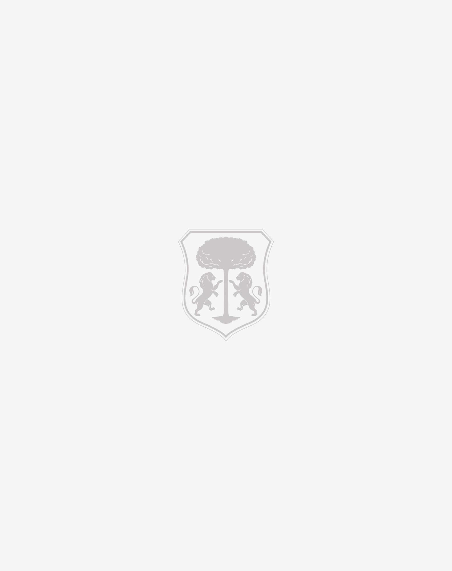 maglia in lana superfine blu con dettagli in suede